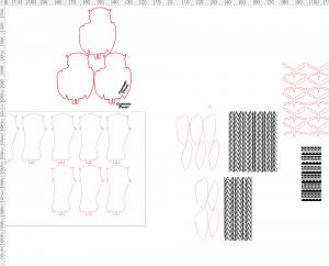 メガネフクロウの木製ブローチの設計図
