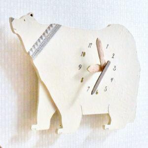 シロクマの木製掛け時計3